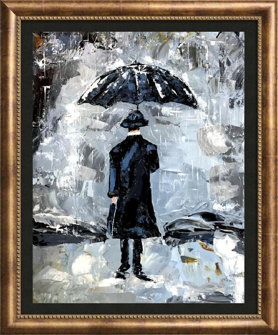 Man with Umbrella Textured Signed Original Palette - 4