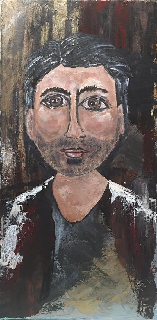 Poker Face Male Original Painting on Canvas Swahn - 2