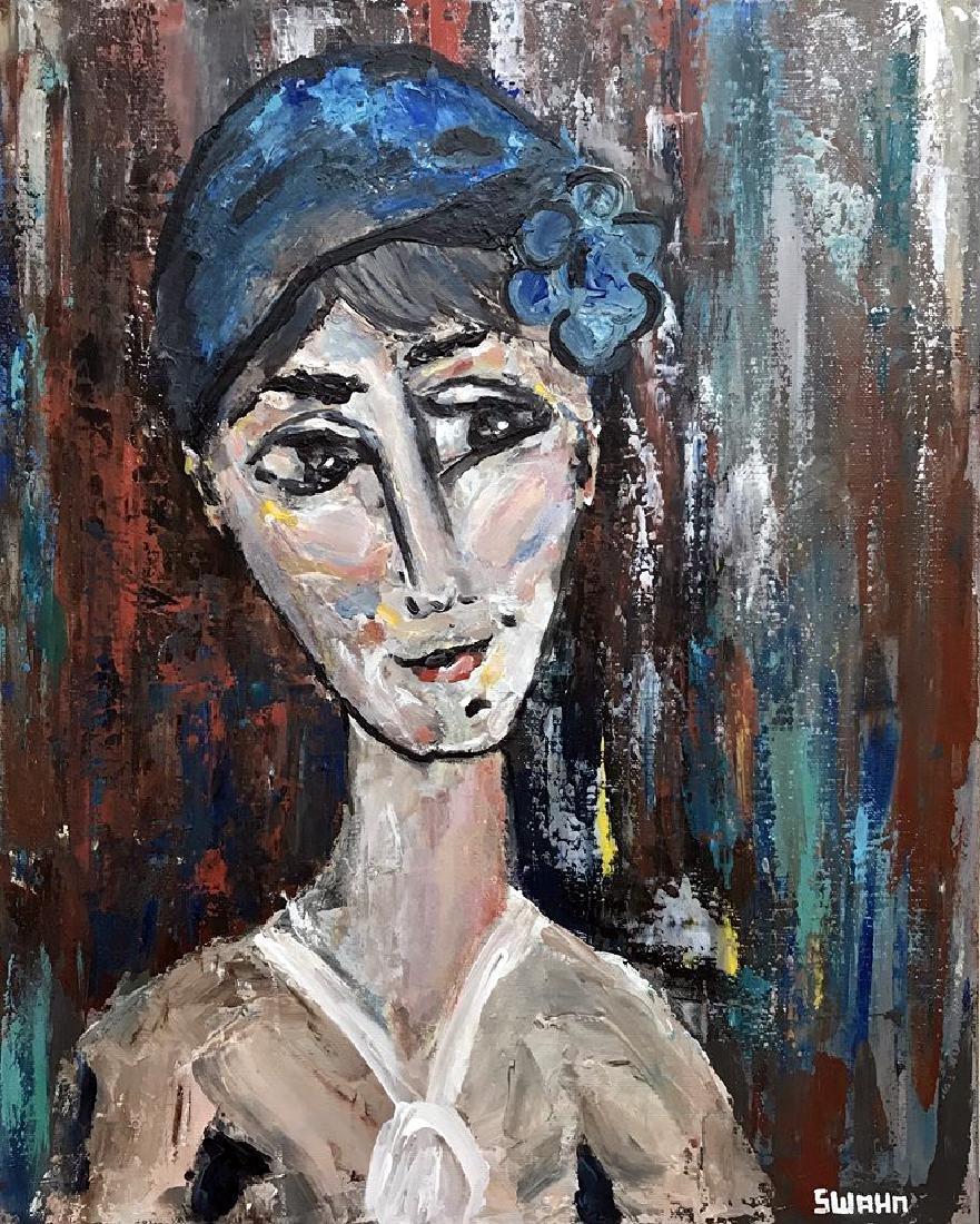 Modigliani style figurative abstract Adoration - 2