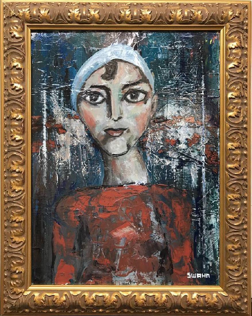 Swahn Acrylic on Canvas Figurative Modigliani style