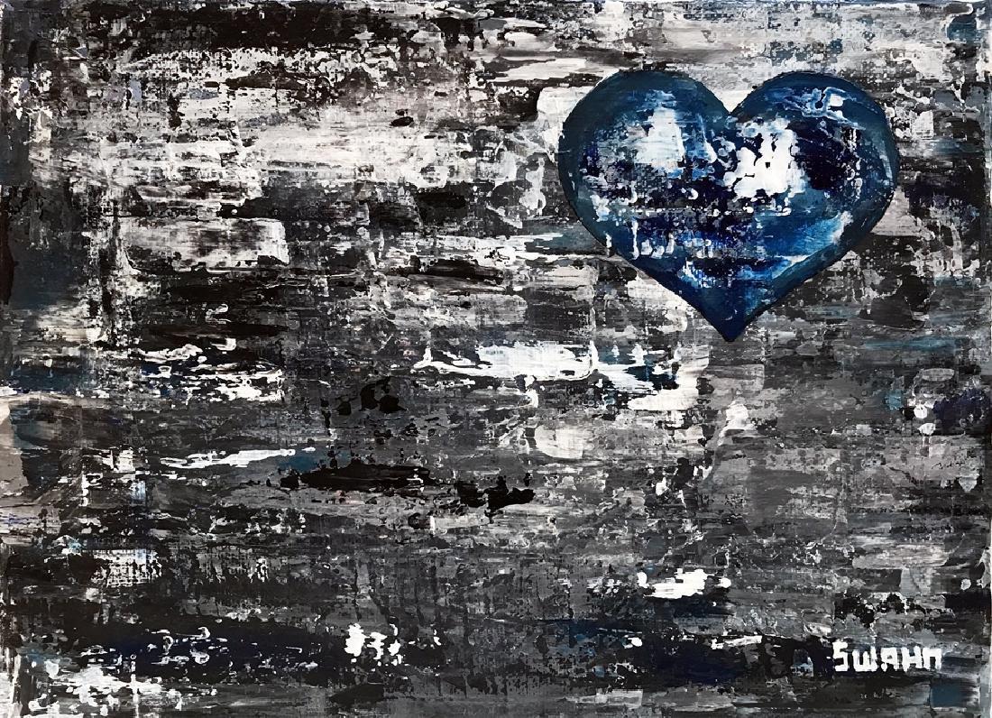 Heart on Gray Abstract Swahn Canvas Original Art Signed - 2