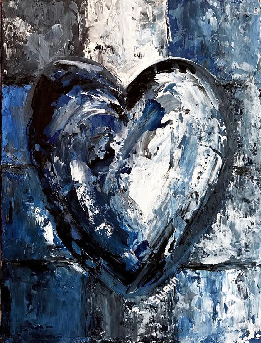Swahn Heart Original Pop Painting on Board - 2