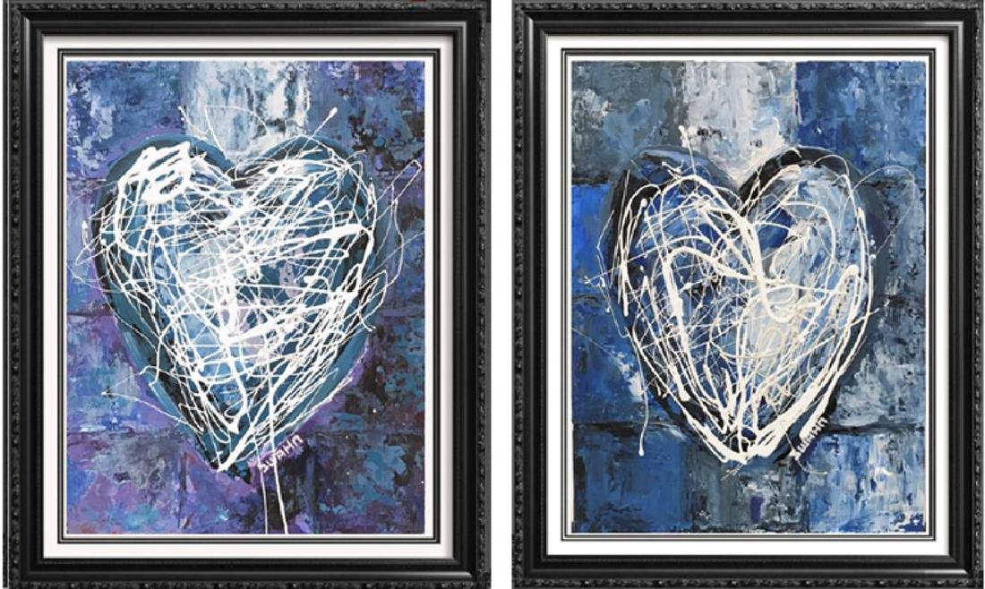 Janet Swahn 2 Piece Suite Heart Original Pop Painting