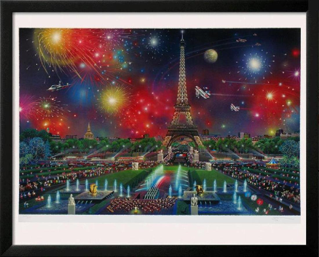 EIFFEL TOWER COLORFUL LITHOGRAPH SIGNED LTD ED SALE
