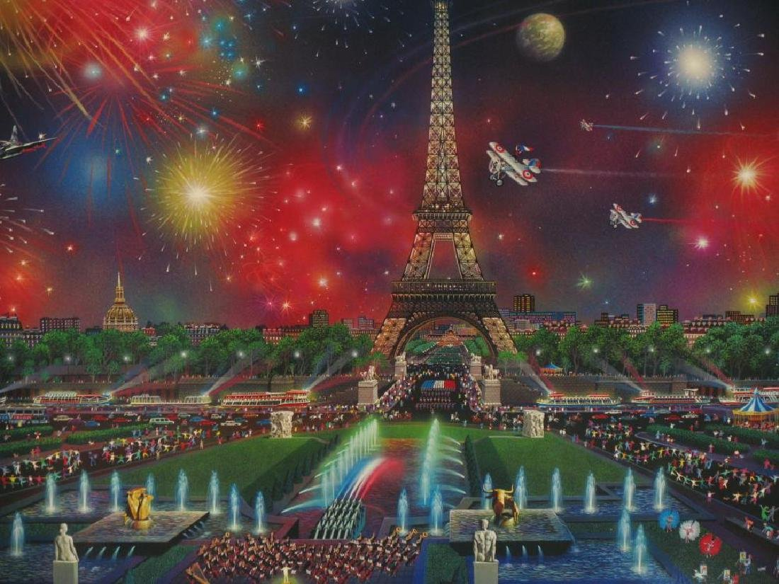 EIFFEL TOWER COLORFUL LITHOGRAPH SIGNED LTD ED SALE - 2