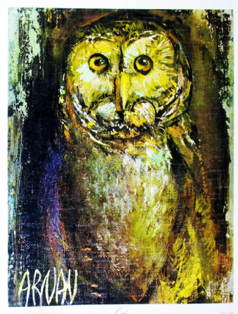 Owl Lithograph Signed Colorful Art For Sale