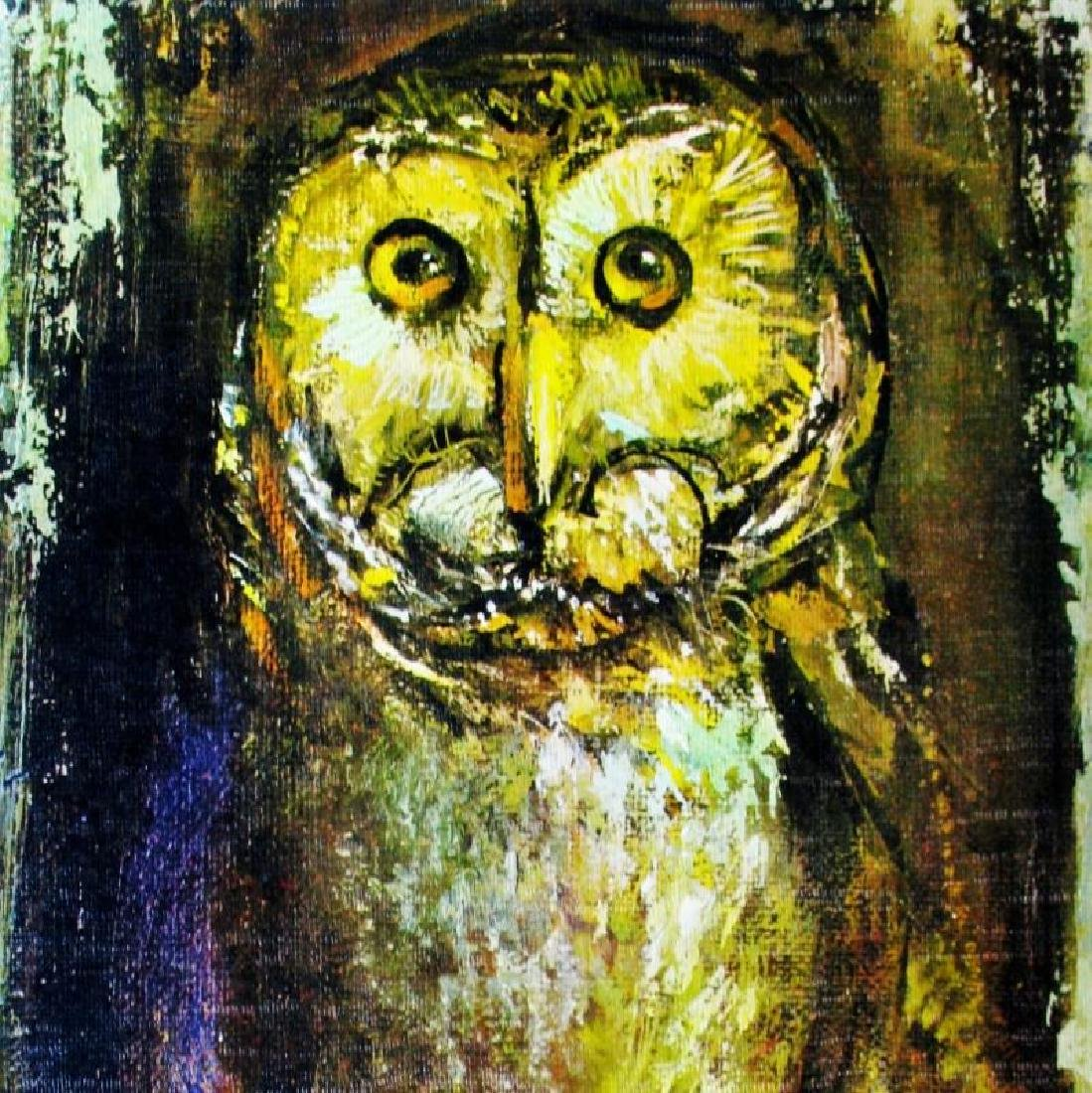 Owl Lithograph Signed Colorful Art For Sale - 2