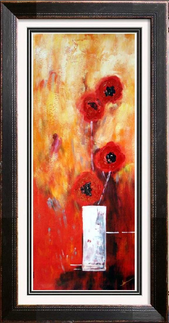 Bold Red Floral Canvas Large Original Signed Swahn