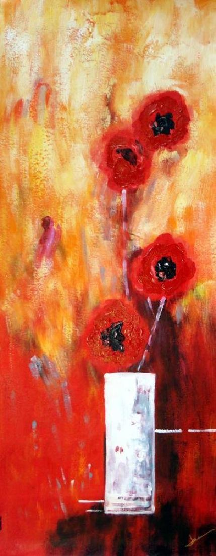 Bold Red Floral Canvas Large Original Signed Swahn - 2