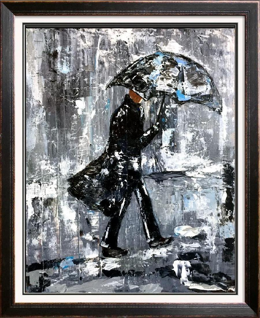 Swahn Man with Umbrella City Scene Textured