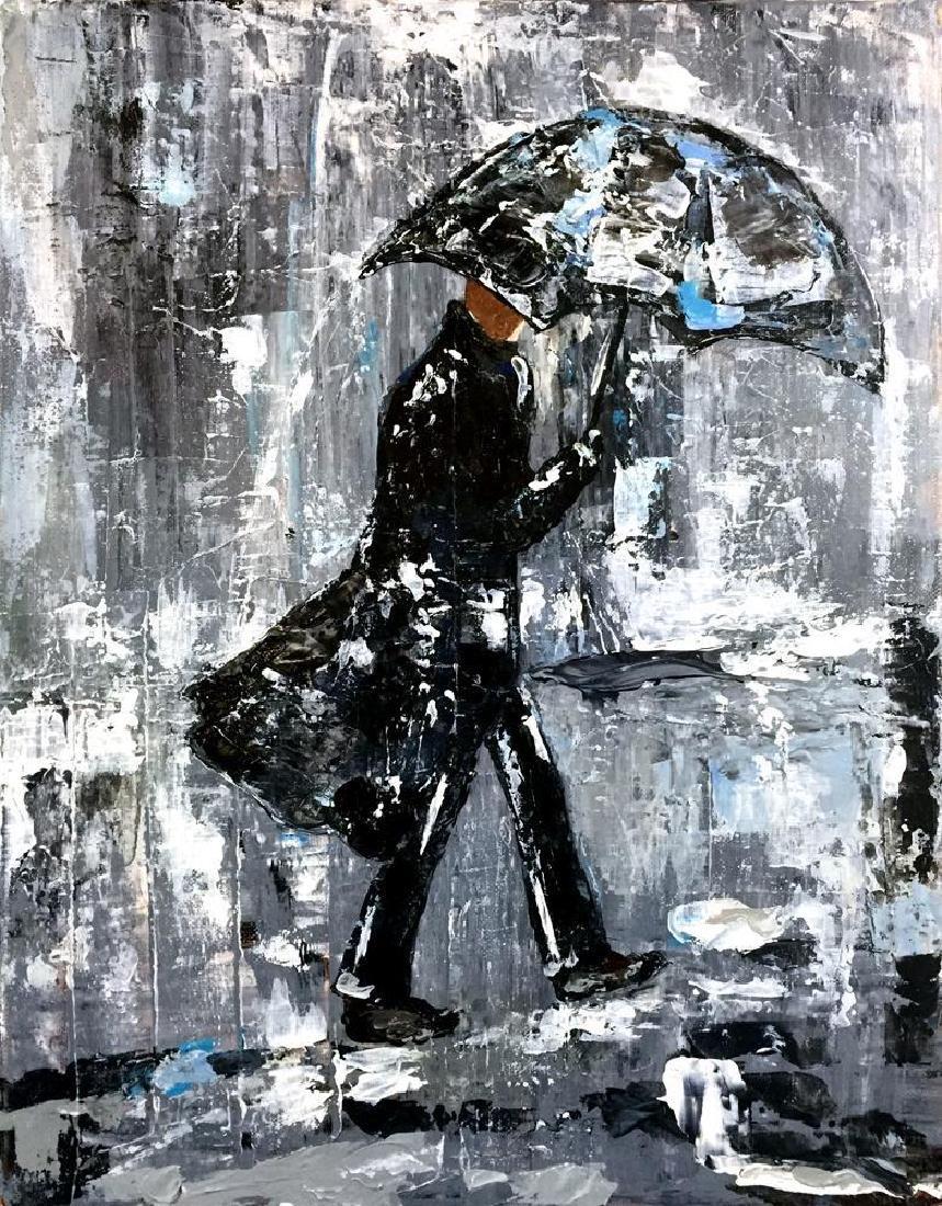 Swahn Man with Umbrella City Scene Textured - 2