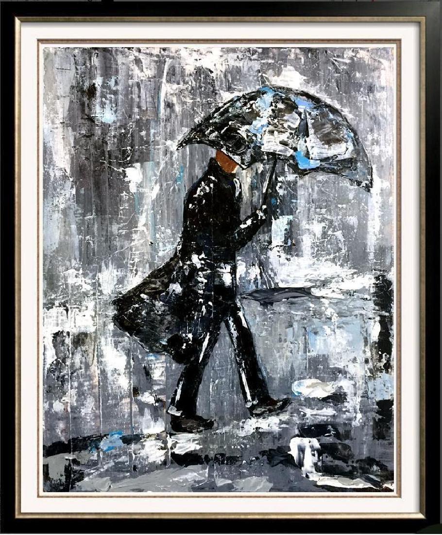Swahn Man with Umbrella City Scene Textured - 4