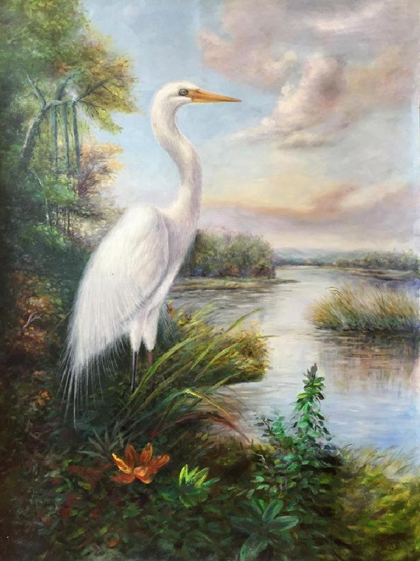 Standing Egret Painting on Canvas Realism Wildlife - 2