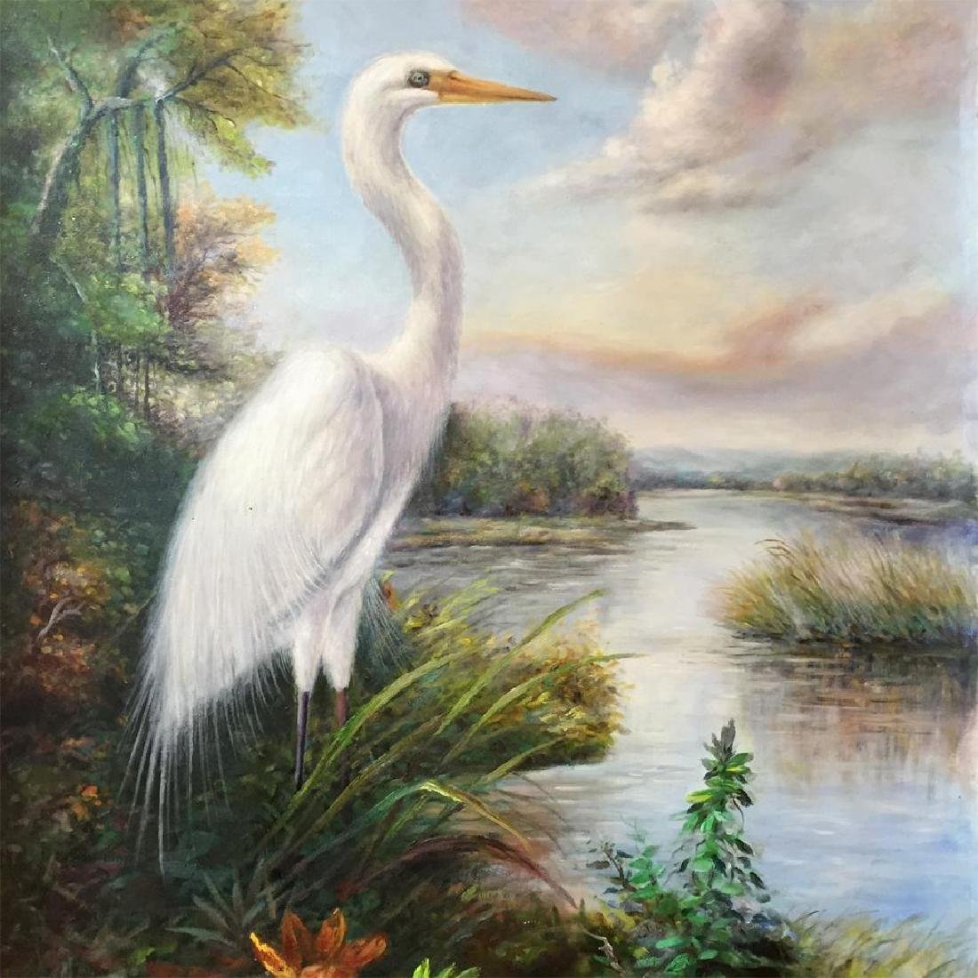 Standing Egret Painting on Canvas Realism Wildlife - 3