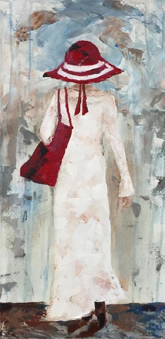 Beach Day Girl with Red Hat Signed Original Painting - 2