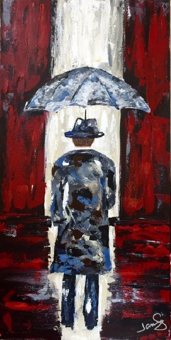 Modern Contemporary Abstract Original Umbrella Red & - 2