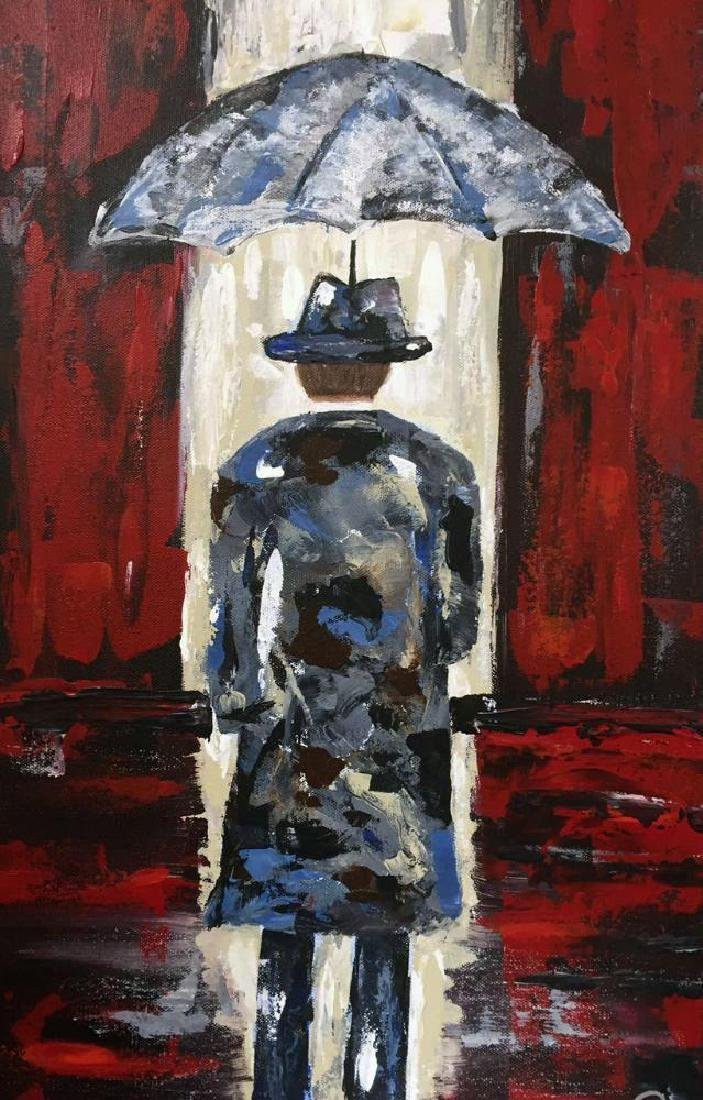 Modern Contemporary Abstract Original Umbrella Red & - 3