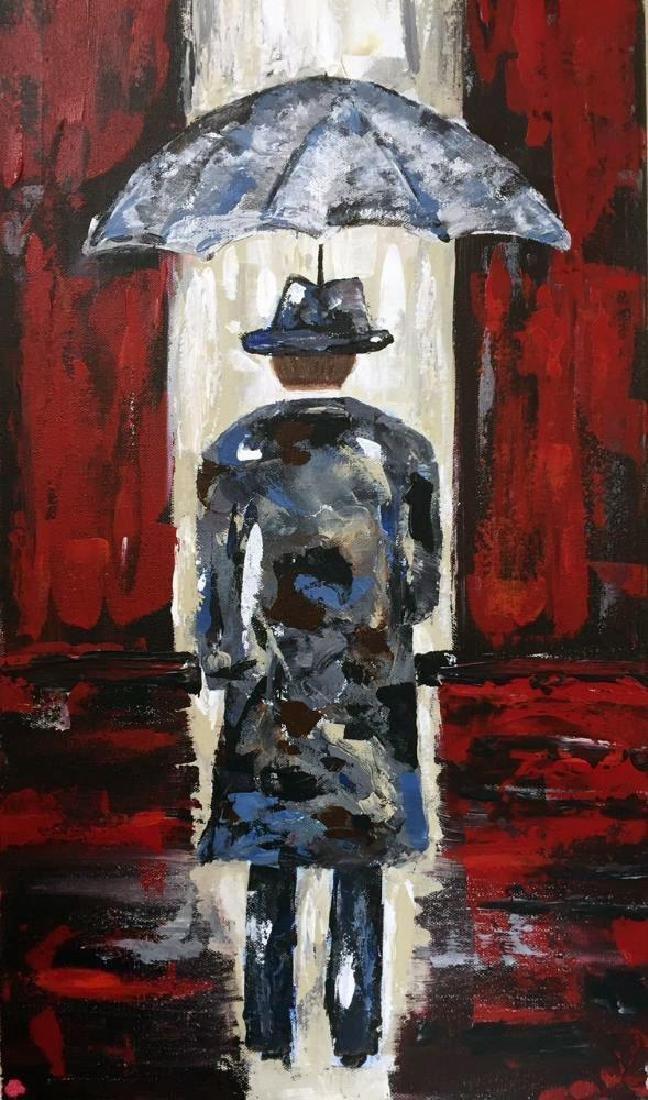 Modern Contemporary Abstract Original Umbrella Red & - 4