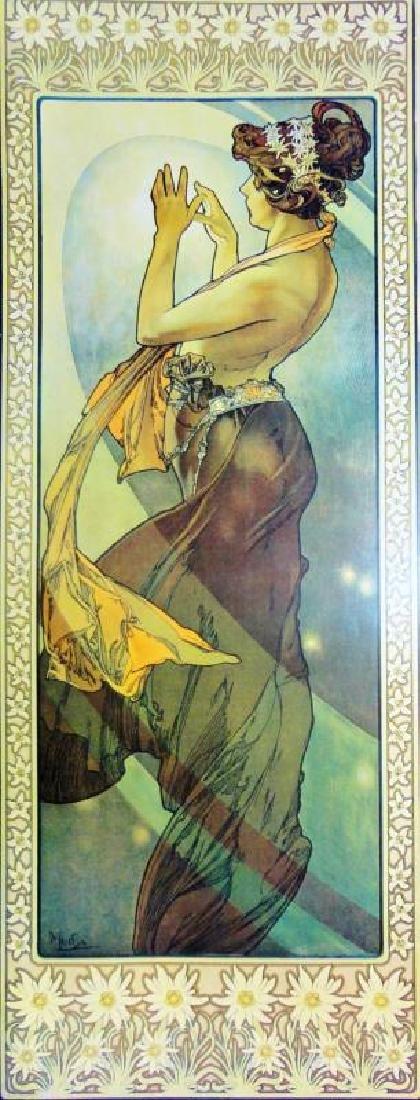 3 Large Mucha Repro Antique Poster Art Prints 48X18 - 3