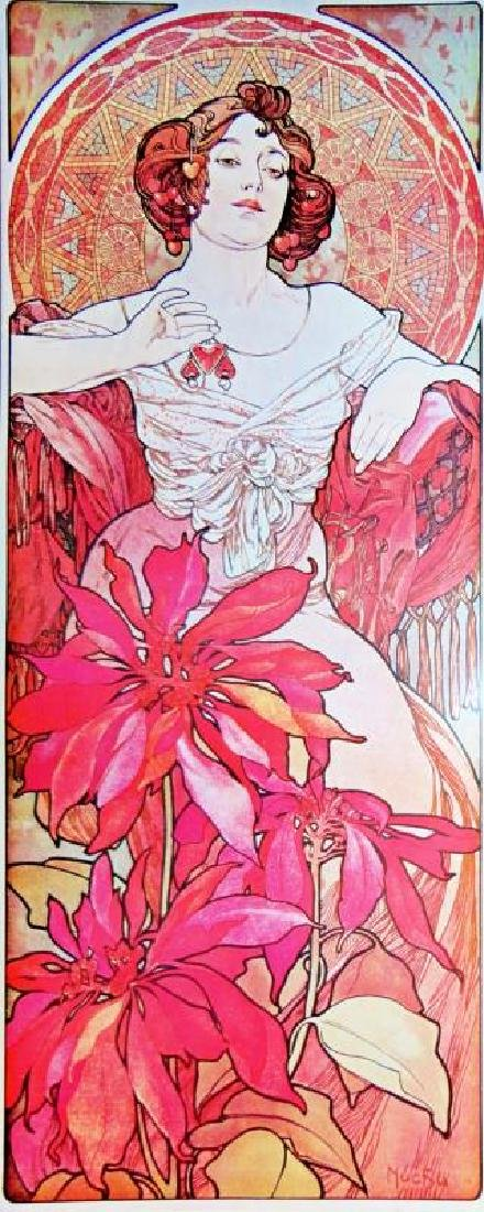 3 Large Mucha Repro Antique Poster Art Prints 48X18 - 4