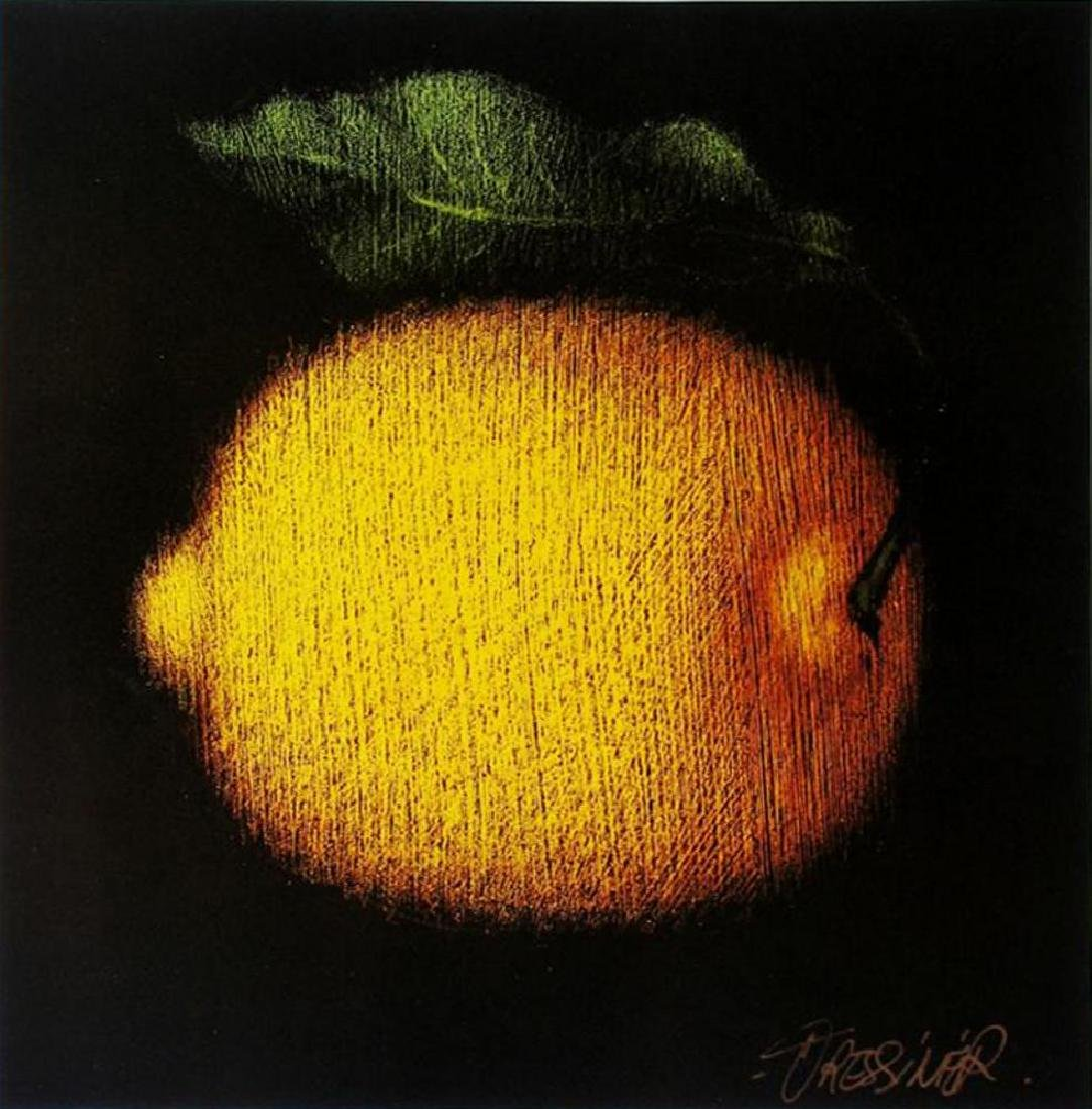 1998 Plate Signed Fressinier Fruit Abstract