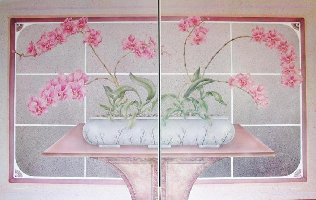Two Piece Diptych Floral Pink Large Beautiful - 2
