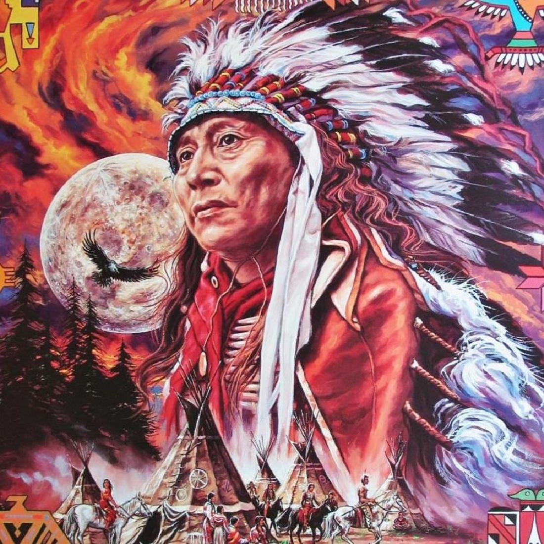American India Large Colorful Awesome Print Full Moon - 2