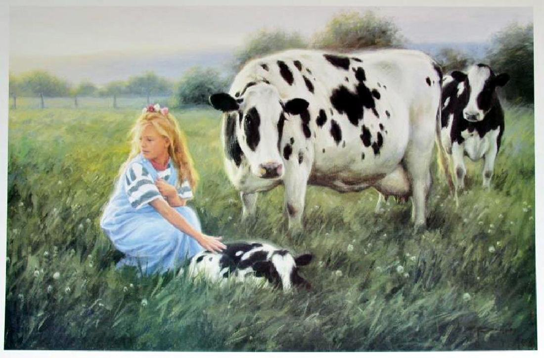 Little Girl With Baby Cow & Mother On Farm