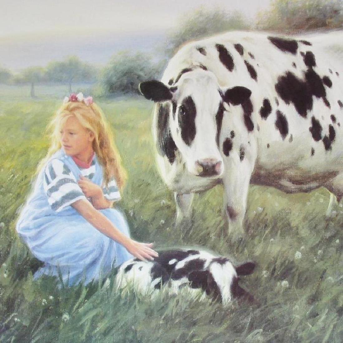 Little Girl With Baby Cow & Mother On Farm - 3