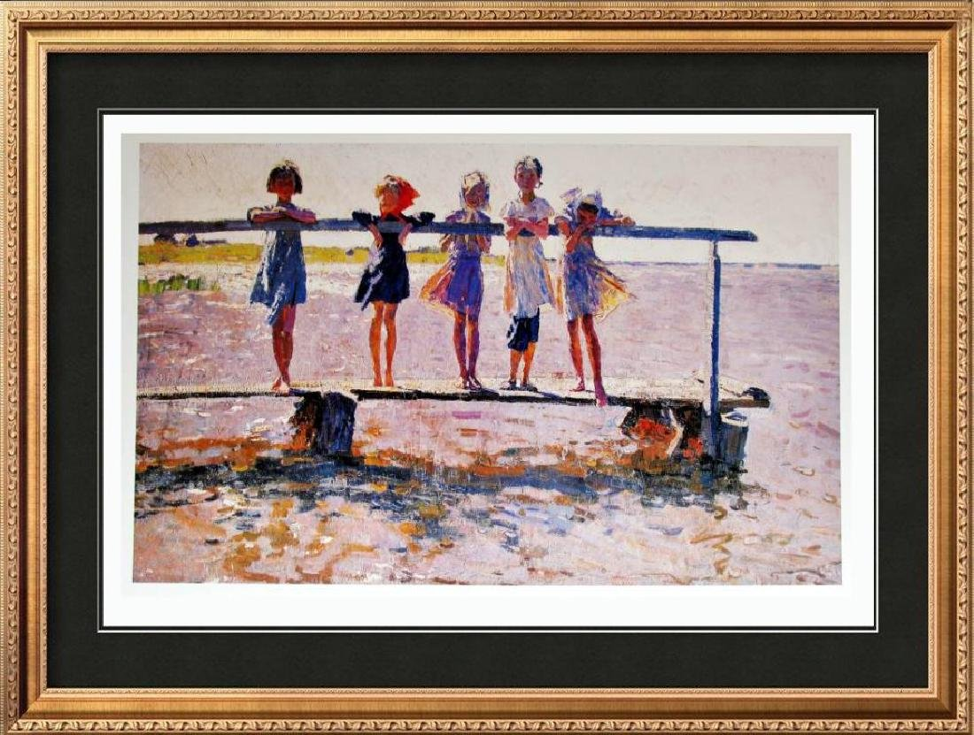 Kids On Dock Impressionism Lovely Poster