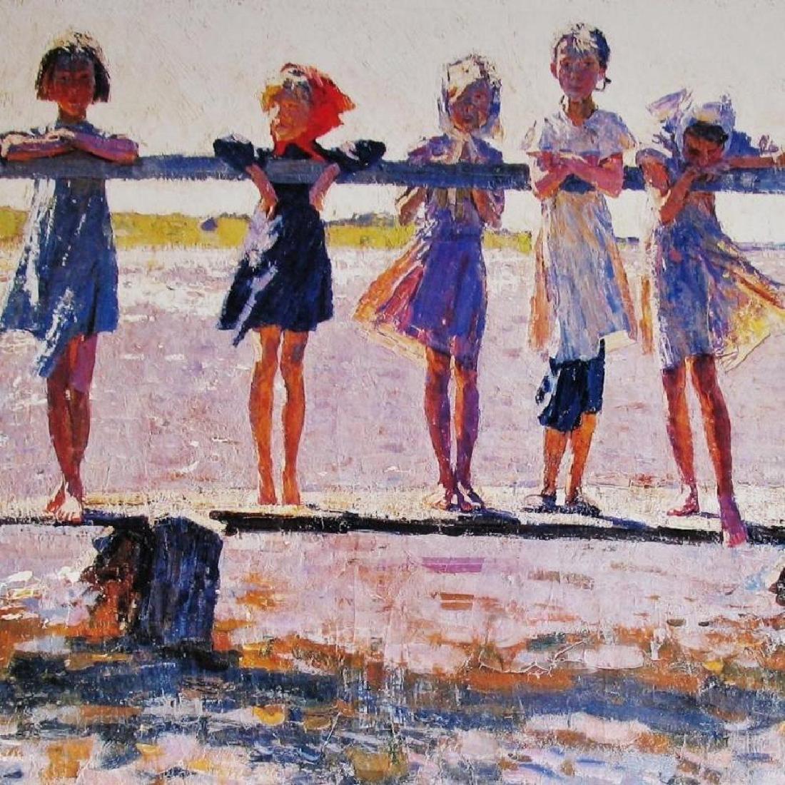 Kids On Dock Impressionism Lovely Poster - 2