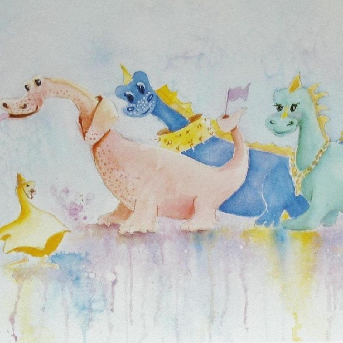 Fun Dinasaur Dragon Whimsical Naïve Colorful Signed - 3
