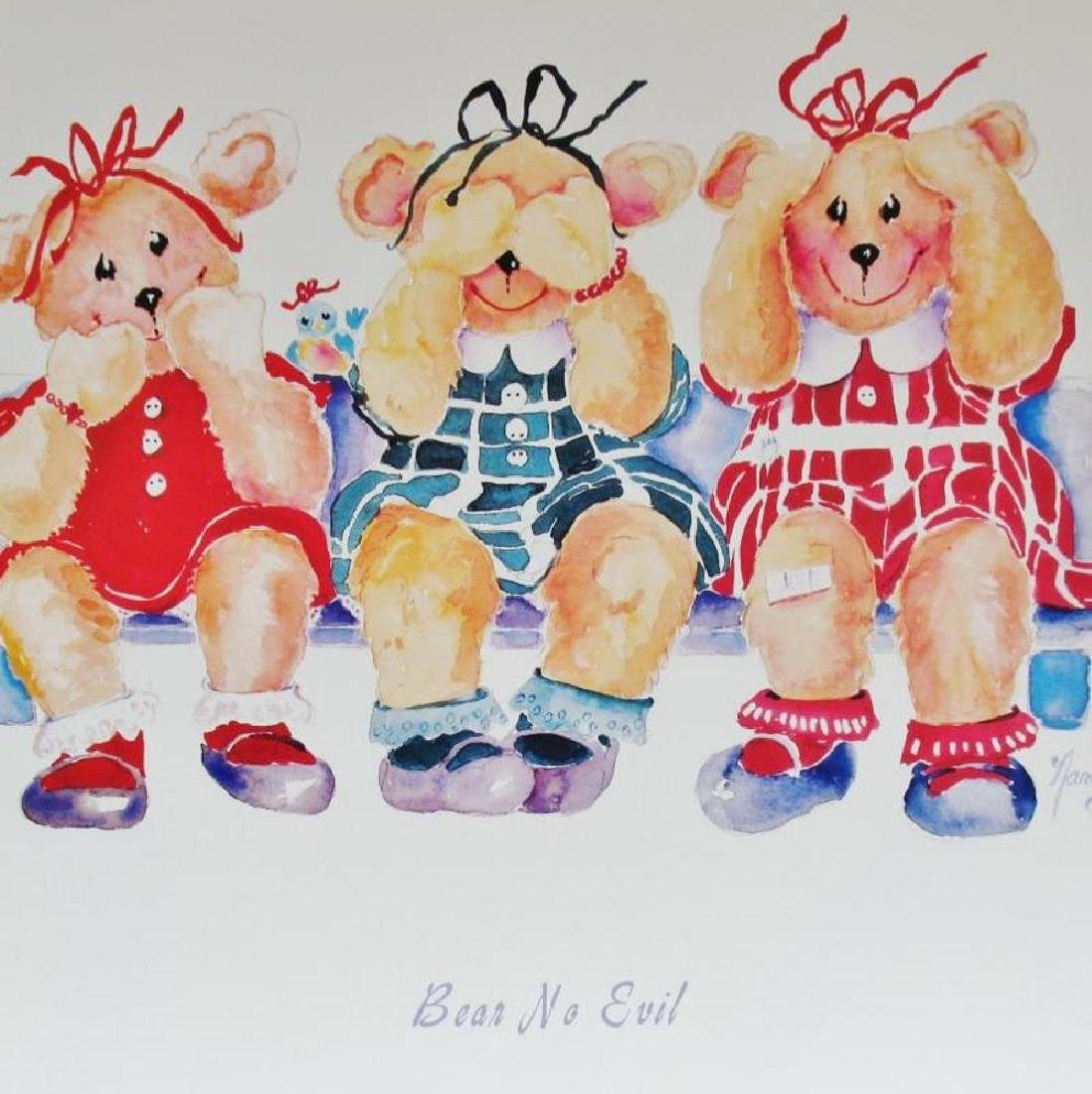 Bear No Evil Cute Kids Poster Plate Signed - 3
