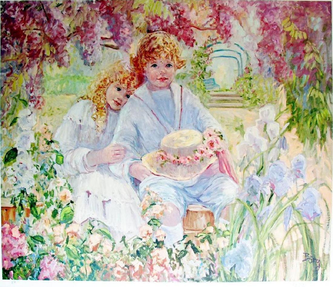 Hand Signed Limited Edition Ap Impressionism Children - 2