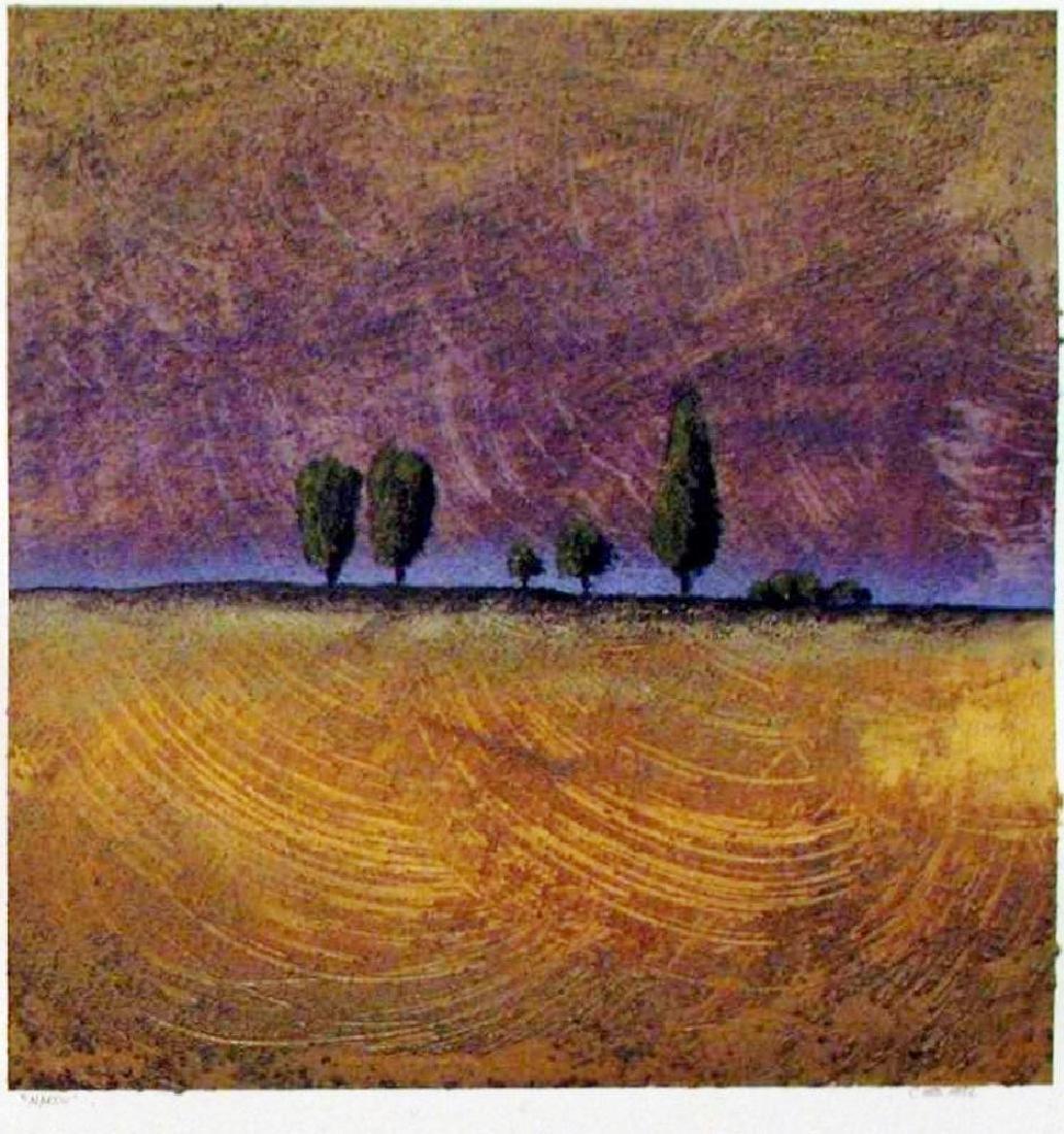 Modern Landscape Signed Original Painting on Paper - 2