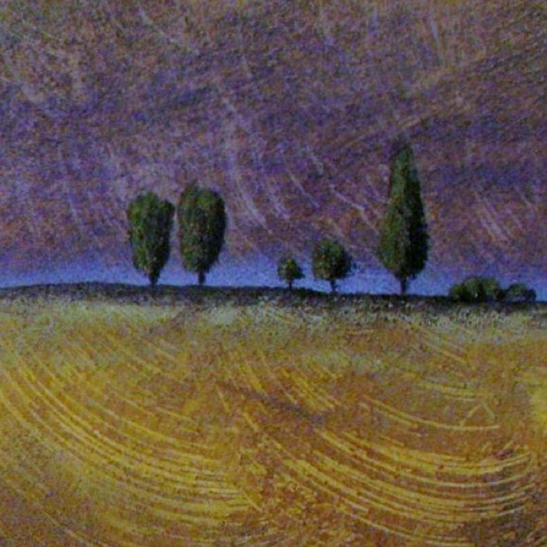 Modern Landscape Signed Original Painting on Paper - 3