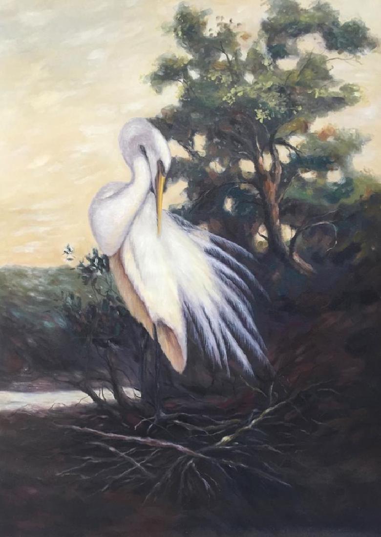 American Beauty Egret Realism Huge Original Painting on - 2