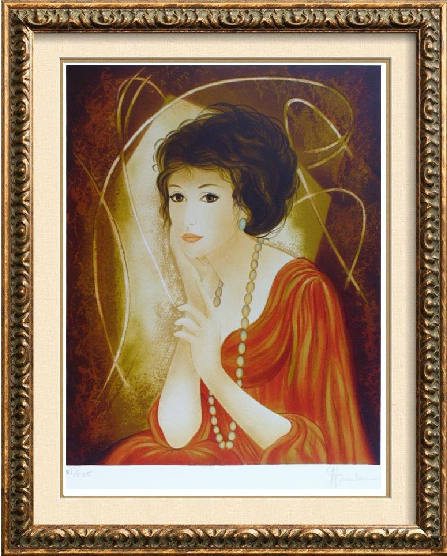 Art Deco Colorful Lady Signed Lithograph Beautiful