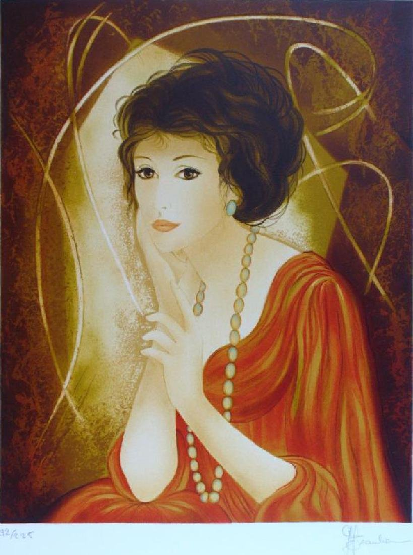 Art Deco Colorful Lady Signed Lithograph Beautiful - 2