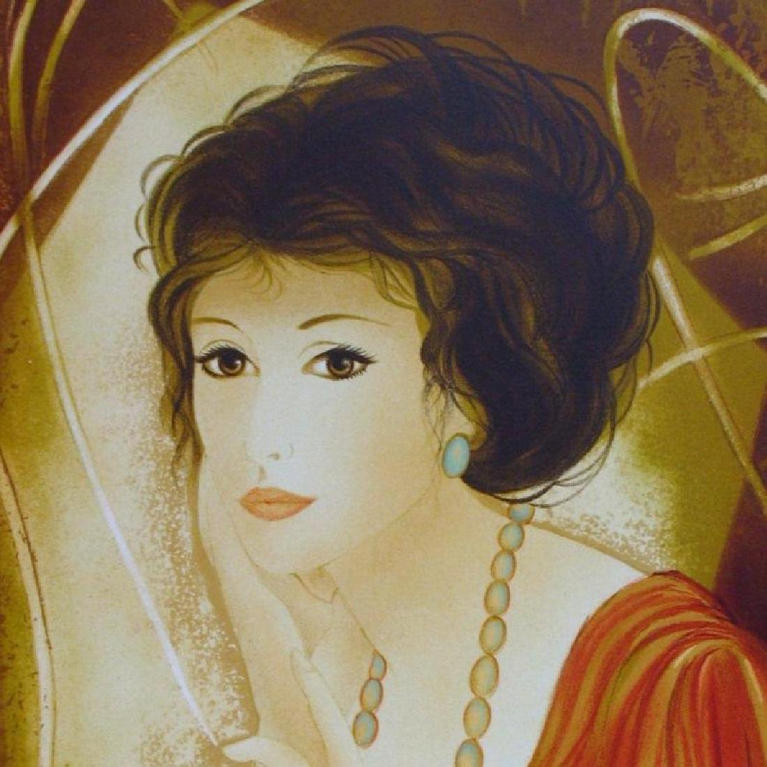 Art Deco Colorful Lady Signed Lithograph Beautiful - 4
