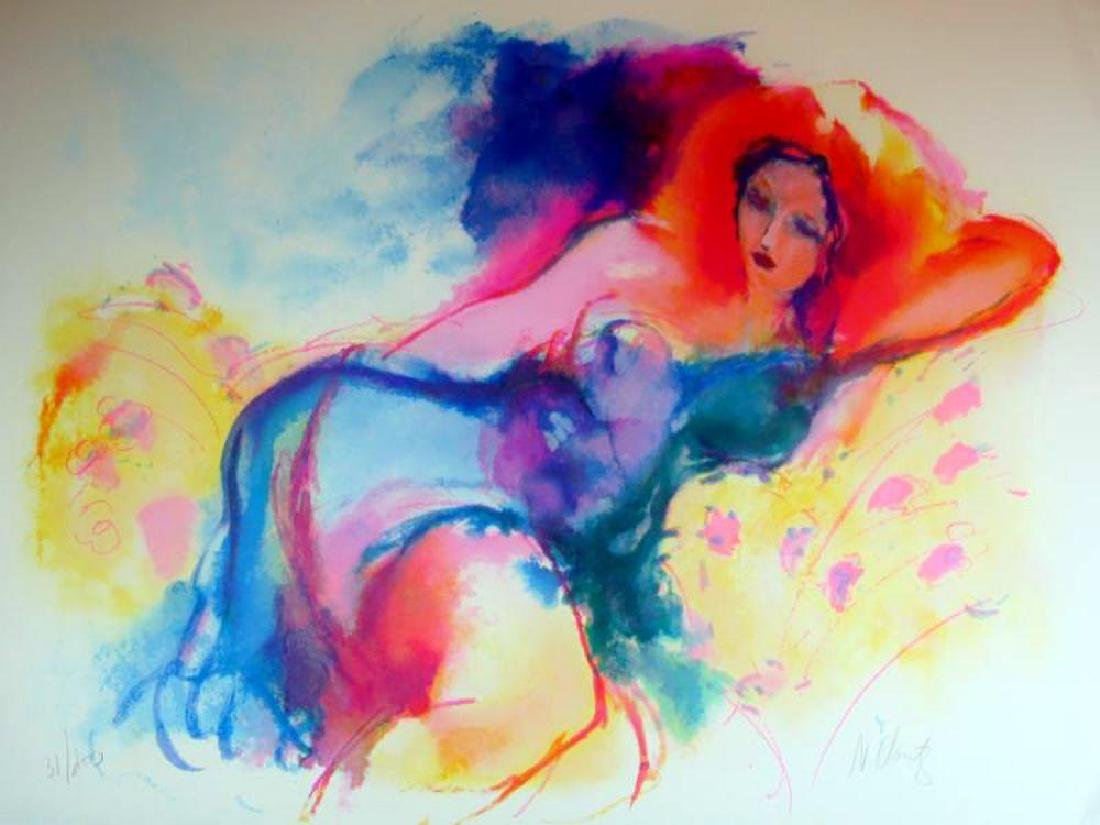 Woman On Couch Colorful Signed Limited Edition Sale - 2
