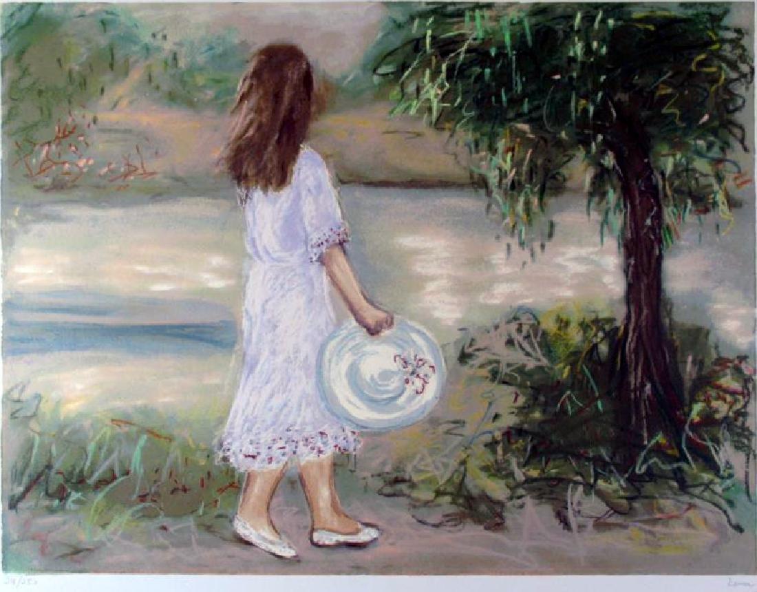 Landscape Impressionism Girl With Hat Dealer Liquidates - 2