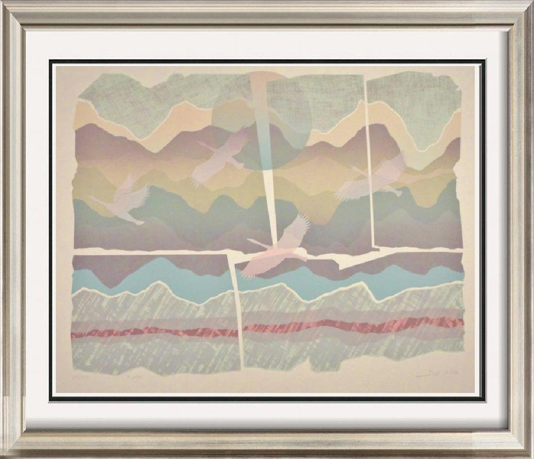 Abstract Geometric Mountain Scene Colorful Signed Ltd