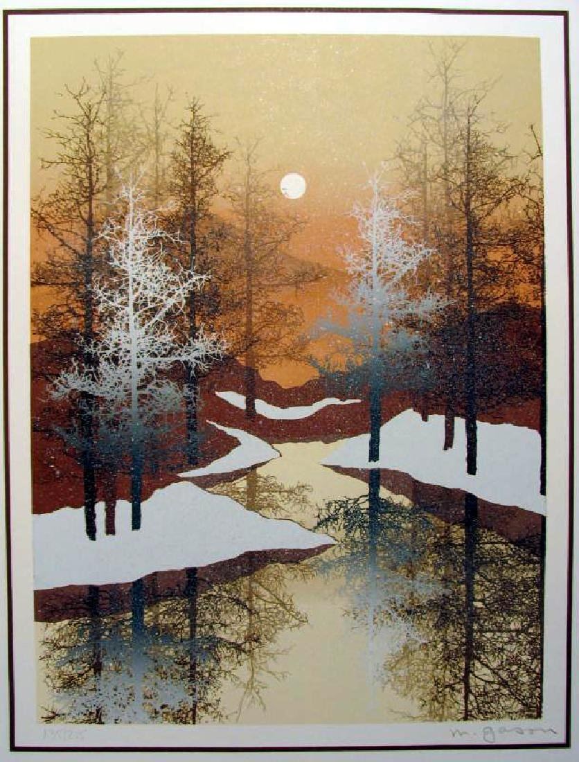 Winter Scenic Abstract Black Gold Ltd Ed Rare Dealer - 2