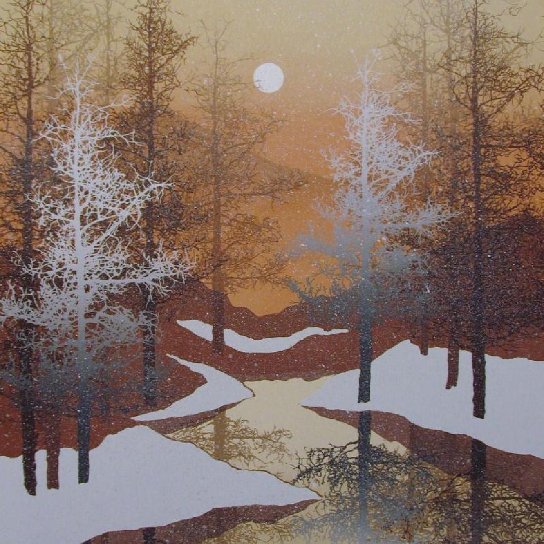 Winter Scenic Abstract Black Gold Ltd Ed Rare Dealer - 3