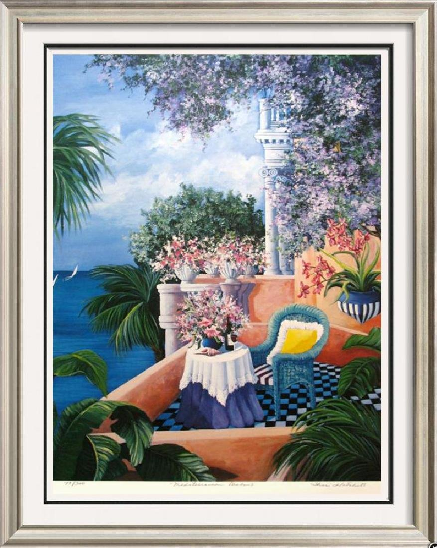 Signed Limited Edition Island Scene Colorful Balcony