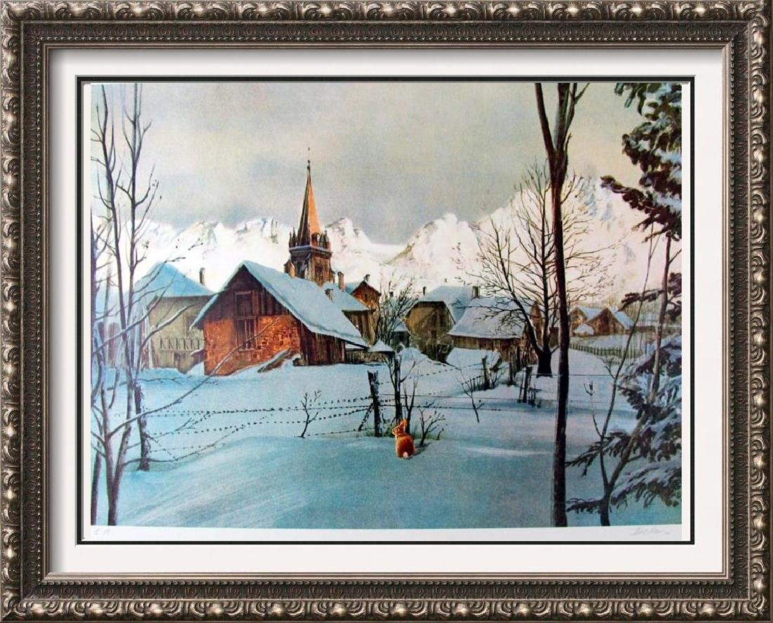 Traditional Landscape Snow scene with Deer Limited