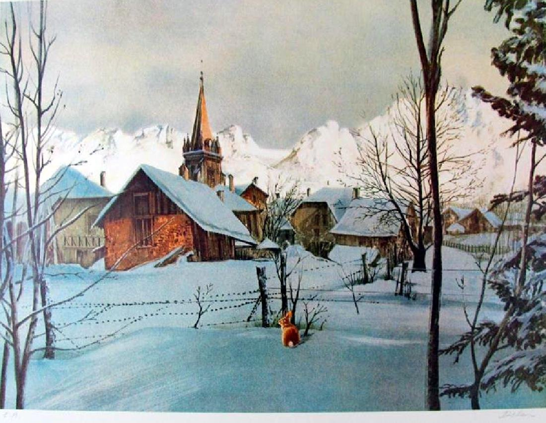 Traditional Landscape Snow scene with Deer Limited - 2