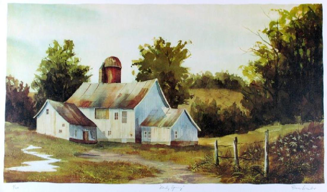 Spring Country Home Landscape Watercolor Style Ltd Ed