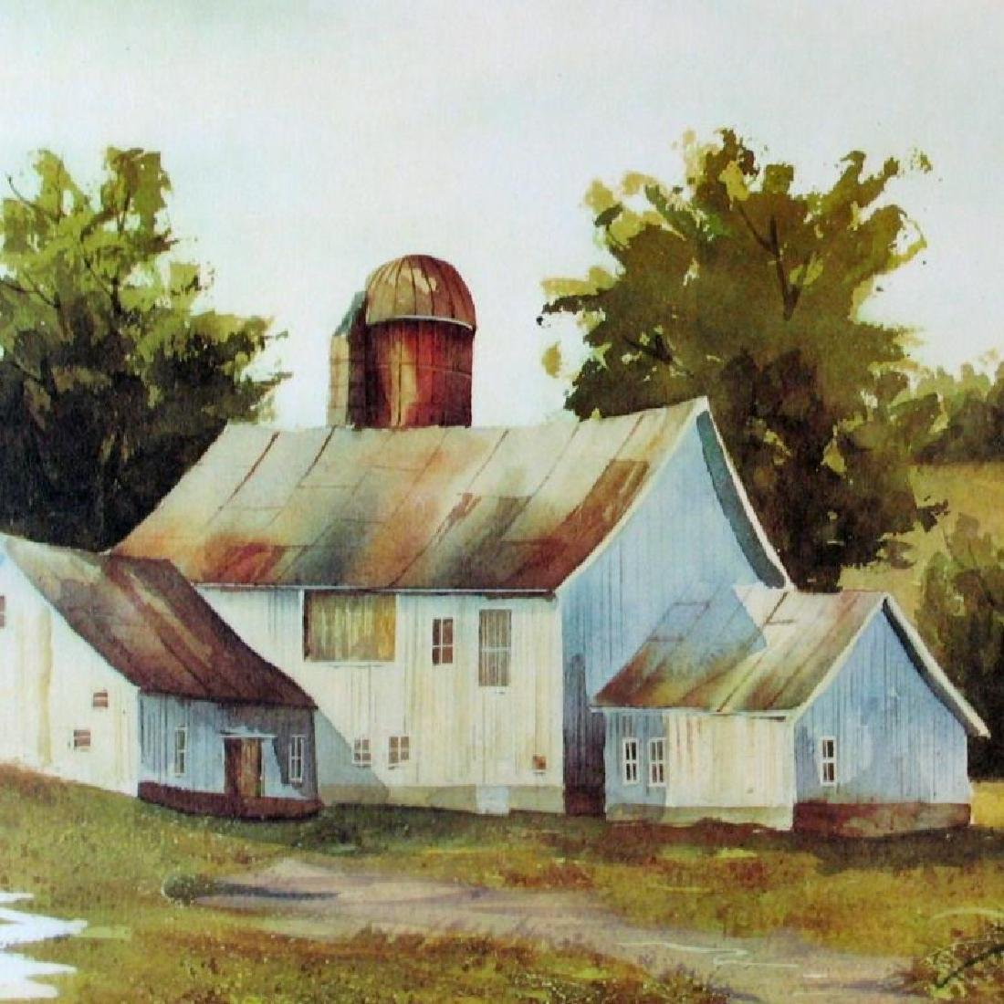 Spring Country Home Landscape Watercolor Style Ltd Ed - 2